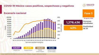 Datos de la Secretaría de Salud apuntan que la curva de contagios ha ido disminuyendo (Foto: SSA)