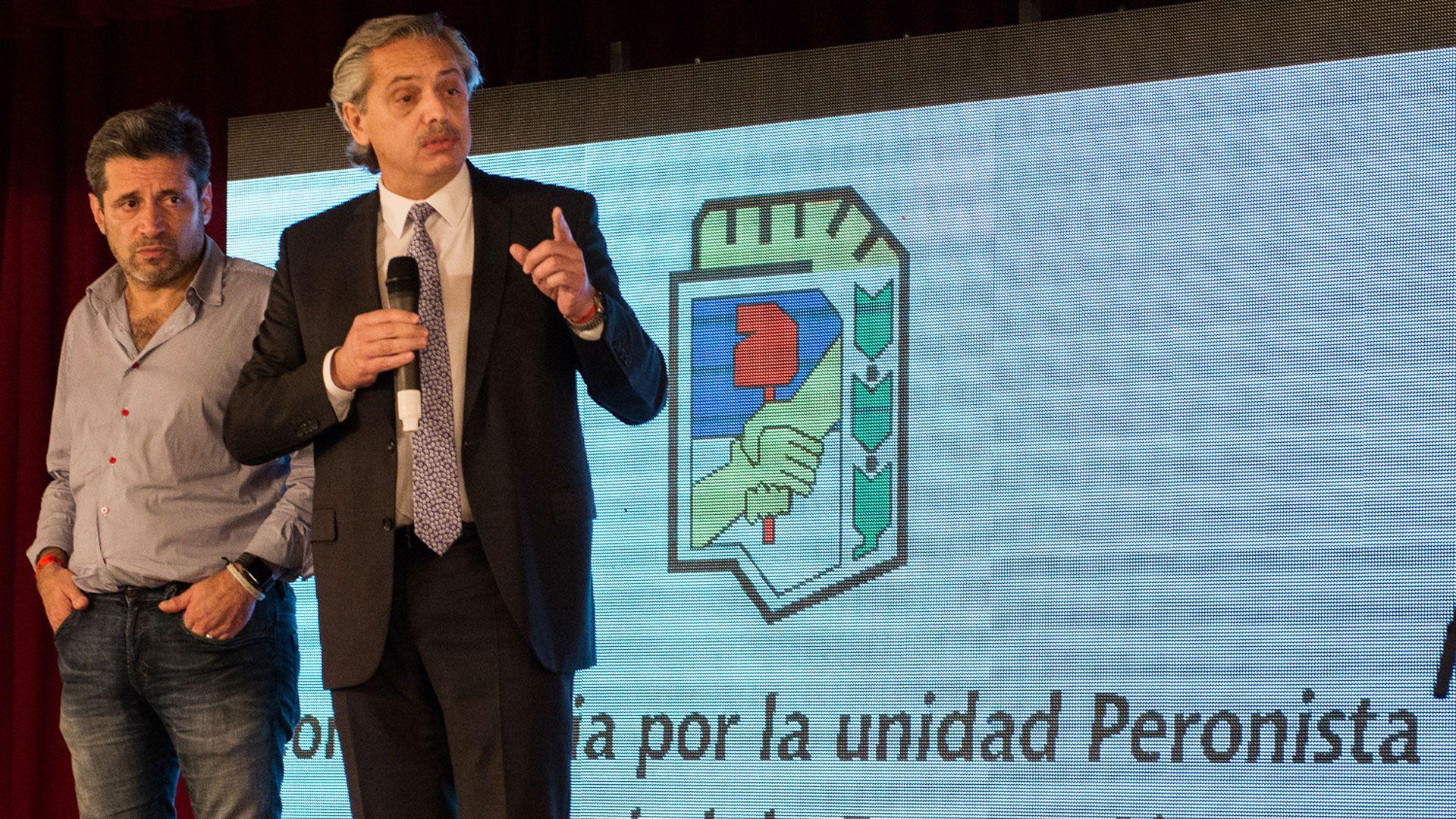 El presidente Alberto Fernández en un acto de su partido antes de llegar a la Casa Rosada