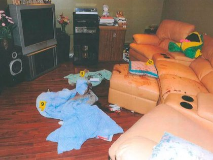 La escena del crimen en la casa de los Pan.
