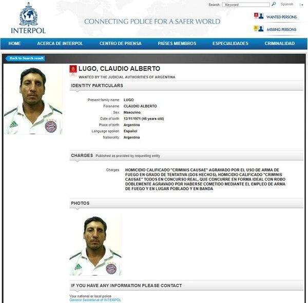 Claudio Alberto Lugo, uno de los prófugos argentinos más peligrosos en la actualidad