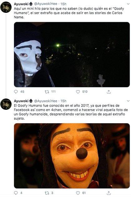 """Algunos usuarios hicieron uso de sus habilidades narrativas para contar la historia del famoso """"Goofy humano"""", relatando teorías de todo tipo (Foto: Twitter)"""