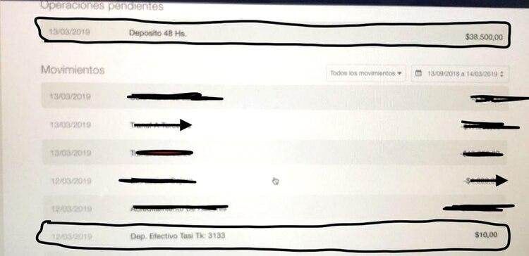 Imagen de las operaciones en la cuenta de Sergio. Con estos datos cotejados con el recibo, se dio cuenta de la estafa
