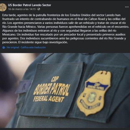 (Foto: Facebook/US Border Patrol Laredo Sector)
