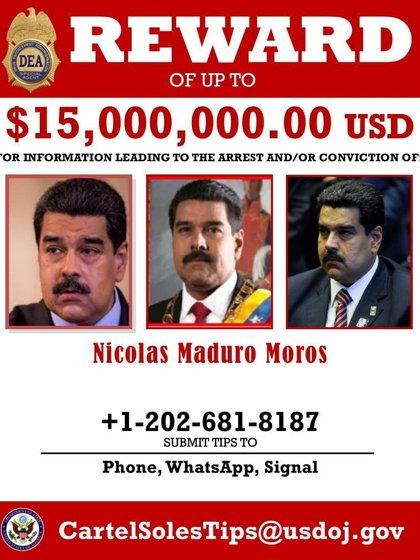 Afiche de la DEA donde ofrece 15 millones de dólares por la captura del dictador de Venezuela, Nicolás Maduro