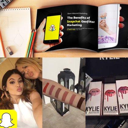 Un manual destaca los beneficios de marketing de los filtros geográficos de Snapchat. Debajo, Kylie Jenner promociona su línea de cosméticos