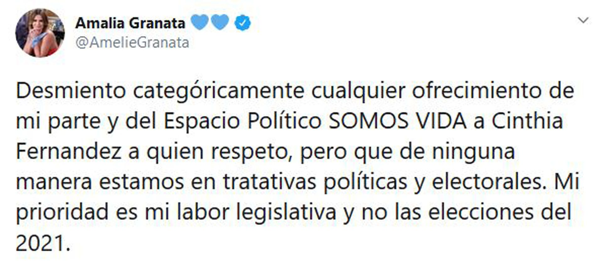 La desmentida de Granata (Foto: Twitter)