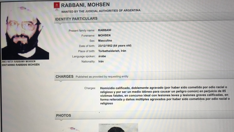 La orden de captura oficial elaborada por Interpol en torno a Rabbani.