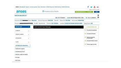 """La pantalla de la cuenta personal de Mauricio Macri en el portal """"Mi Anses"""""""