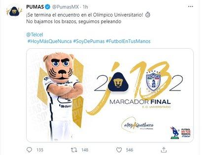 Los Universitarios empataron el partido en los últimos minutos del juego (Foto: captura de pantalla Twitter/@PumasMX)