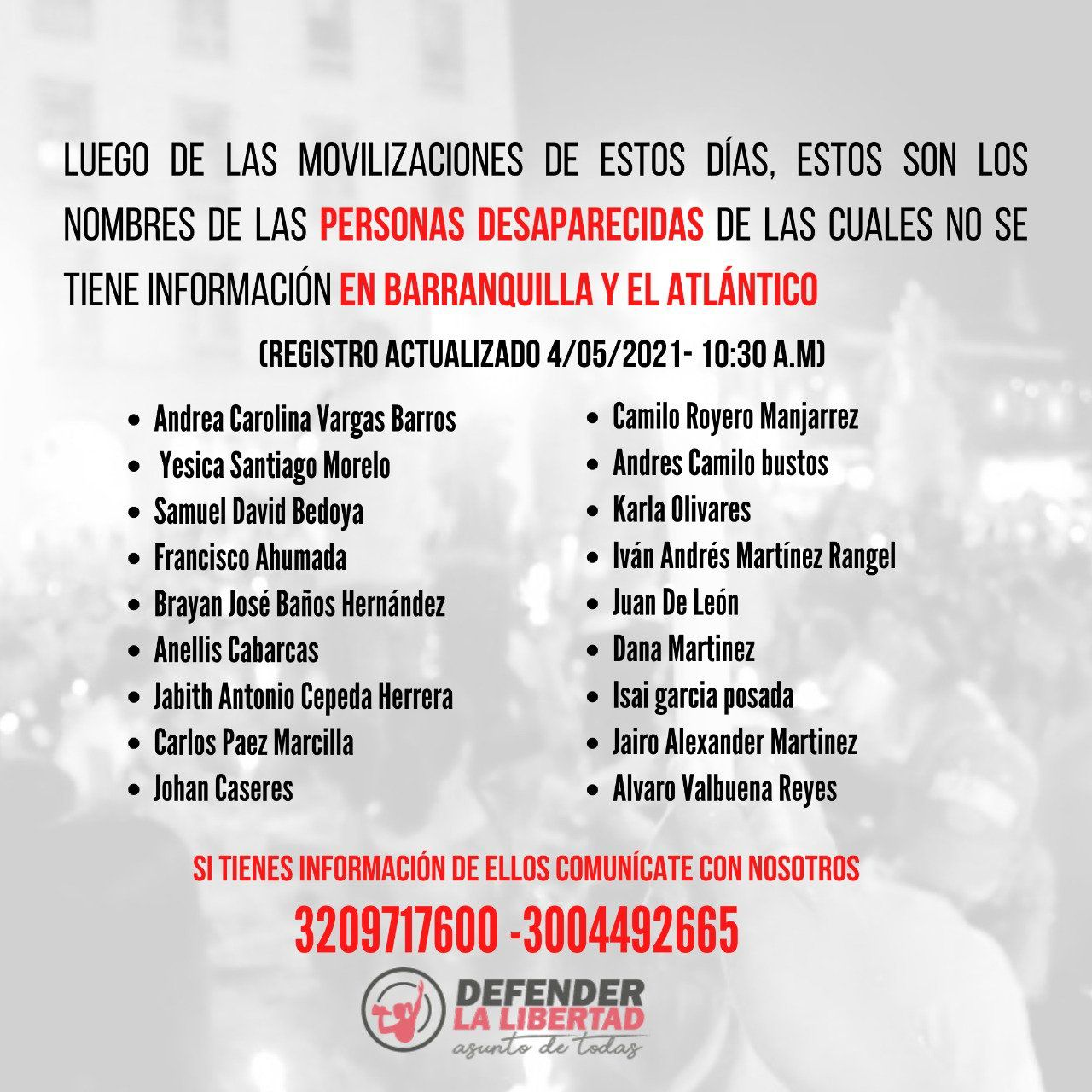 Desaparecidos Barranquilla-Colombia-05-05-2021