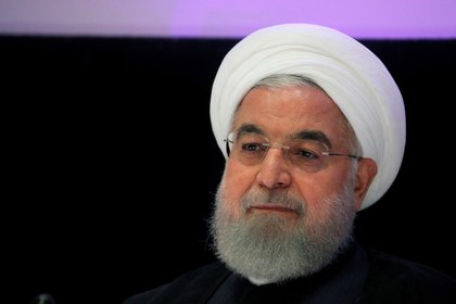 FILE PHOTO: Iranian President Hassan Rouhani speaks at the United Nations General Assembly in New York, September 26, 2019. REUTERS/Brendan McDermid/File Photo
