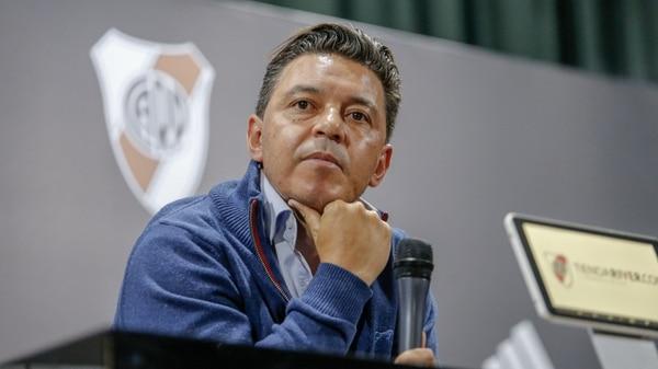 La conferencia de prensa en la que Gallardo ofreció disculpas por su actitud (Foto: Nicolás Aboaf)