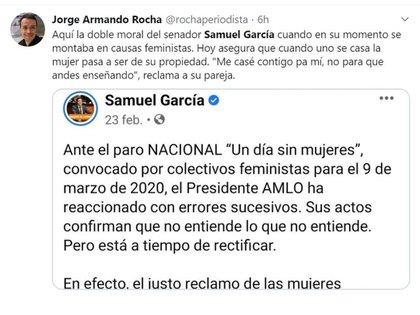 La actitud de Samuel García generó críticas a la luz de sus comentarios previos sobre feminismo (Foto: Twitter/@rochaperiodista)