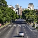 Aerial view of the empty 9 de Julio avenue in Buenos Aires, on March 20, 2020. - Argentine President Alberto Fernandez on Thursday announced a