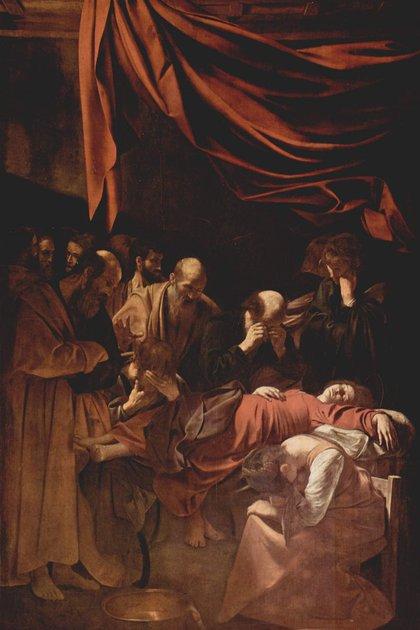 """""""La muerte de la virgen"""" (1604–1606), Caravaggio , en el Museo del Louvre"""