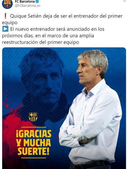 El 17 de agosto, el Barcelona anunció la salida de Setién
