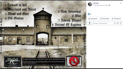 Así era la portada del disco de la banda mexicana Volrisch, la cual hace referencia a Auschwitz. (Foto: Captura de pantalla/Facebook)