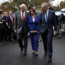 House Majority Leader Steny Hoyer (D-MD), House Speaker Nancy Pelosi (D-CA) and U.S. Senate Minority Leader Chuck Schumer (D-NY) walk away from a news conference after meeting with U.S. President Donald Trump at the White House in Washington, U.S., October 16, 2019. REUTERS/Leah Millis