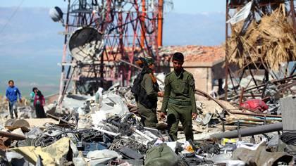 Momentos después de un ataque turco en el norte de Siria (AFP)