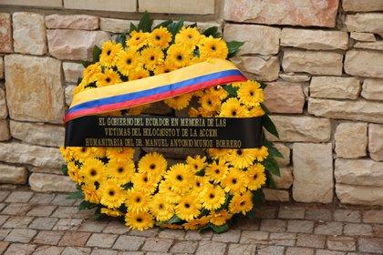 Homenaje del gobierno de Ecuador a Muñoz Barrero en el Museo de Yad Vashem de Jerusalén (Foto: Embajada de Ecuador en Israel)