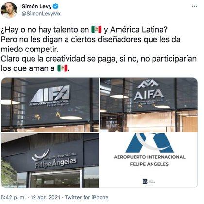 Simón Levy presumió los diseños que participan en su convocatoria (Foto: Twitter@SimonLevyMx)