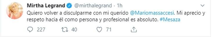 Las disculpas de Mirtha Legrand a Mario Massaccesi en Twitter