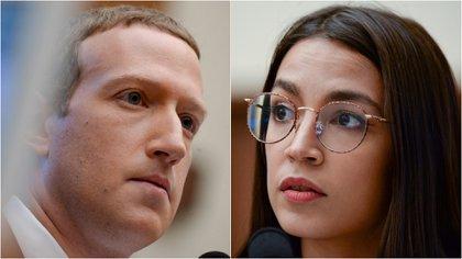 Mark Zuckerberg y Alexandria Ocassio Cortez (Infobae/Reuters)