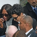 British model Naomi Campbell (L), French-Algerian actress Farida Khelfa (C) and Tunisian-Italian model Afef Jnifen (R) attend the funeral of the late Tunisian fashion designer Azzedine Alaia, who died this month aged 77, in the Sidi Bou Said cemetary in the capital Tunis on November 20, 2017. / AFP PHOTO / FETHI BELAID