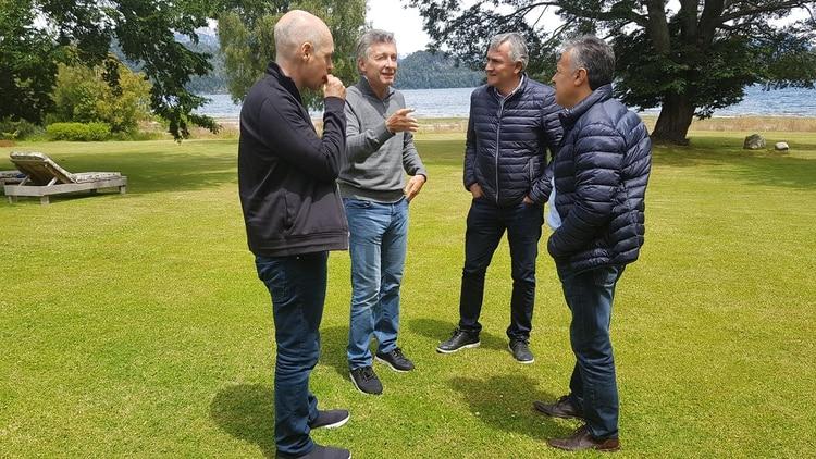 Mauricio Macri junto a Rodríguez Larreta, Alfredo Cornejo y Gerardo Morales. Sucedió en el verano, antes de la derrota en las PASO.