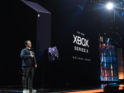 LOS ANGELES- DECEMBER 12: Head of Xbox, Phil Spencer, unveils the new Xbox Series X alongside Senua's Saga: Hellblade II at The Game Awards 2019 at the Microsoft Theater on December 12, 2019 in Los Angeles, California. (Photo by Frank Micelotta/PictureGroup)