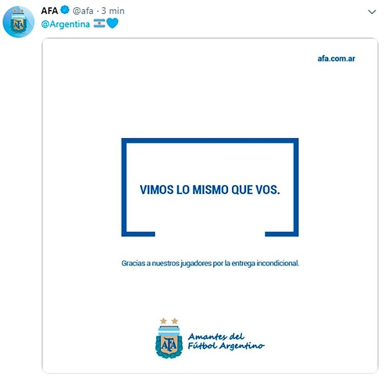 El posteo de la AFA por el polémico arbitraje del ecuatoriano Zambrano