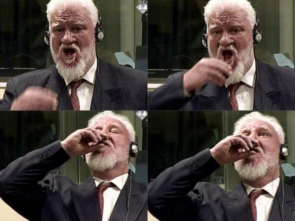 La secuencia en la que Praljak toma el veneno (AFP)