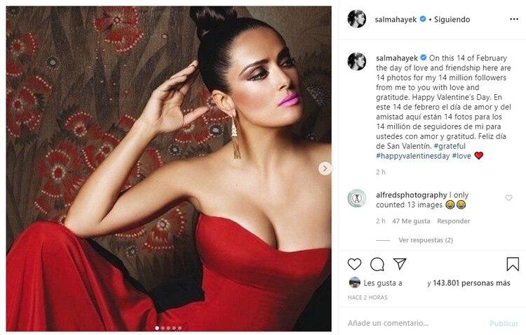 La protagonista de Frida hizo este original regalo dedicado especialmente para sus 14.1 millones de seguidores en la red social (Foto: Instagram)