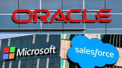Los logos de Oracle, Microsoft y Salesforce, tres de los principales miembros de la iniciativa VCI