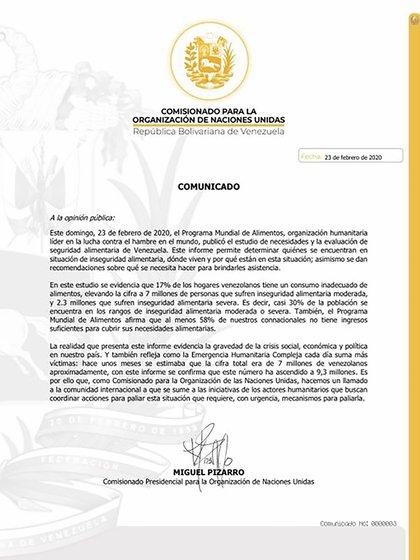 El comunicado de Miguel Pizarro