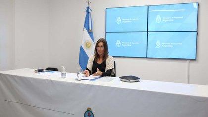 La ministra de Seguridad, Sabina Frederic, durante la videoconferencia junto a diputados