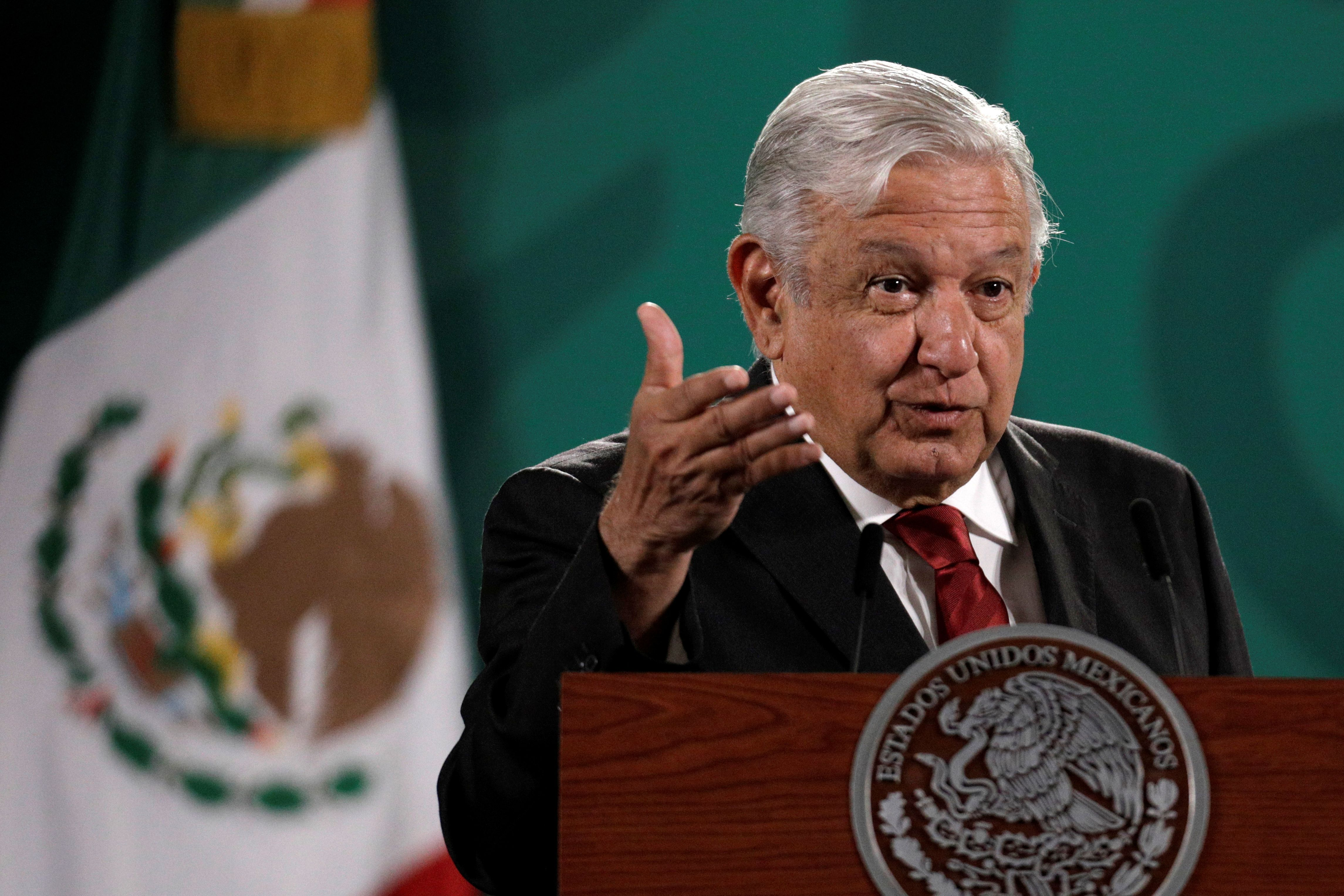 Mexican President Andres Manuel Lopez Obrador gestures during a news conference at the National Palace in Mexico City, Mexico June 15, 2021. REUTERS/Luis Cortes