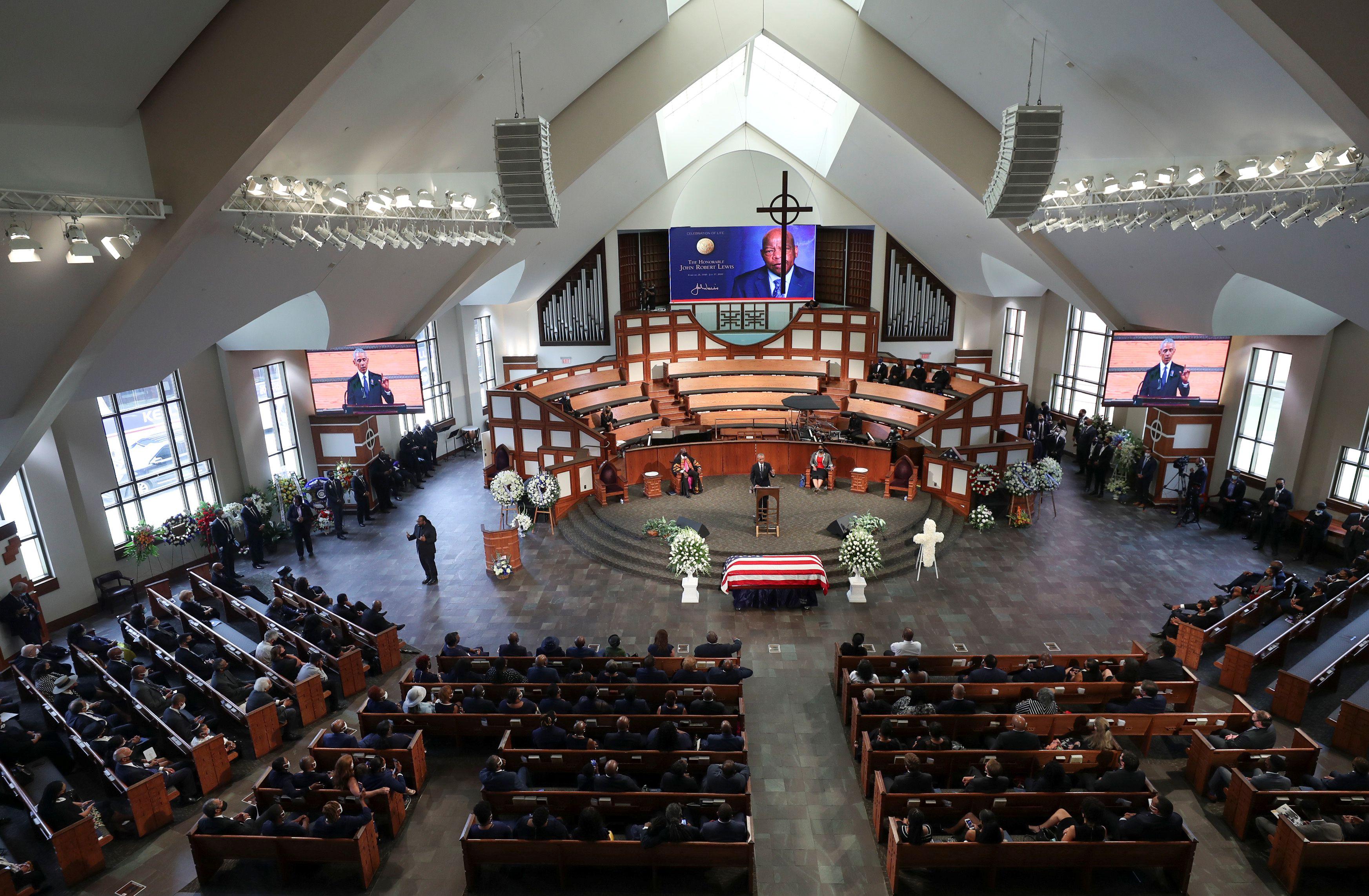 La ceremonia de este jueves termina con seis días de homenajes y conmemoraciones para John Lewis (Alyssa Pointer/Pool via REUTERS)