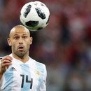 Argentina's Javier Mascherano runs for the ball during the group D match between Argentina and Croatia at the 2018 soccer World Cup in Nizhny Novgorod Stadium in Novgorod, Russia, Thursday, June 21, 2018. (AP Photo/Pavel Golovkin)