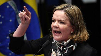 Gleisi Hoffmann, presidenta del PT, se negó a hacer declaraciones (AFP)