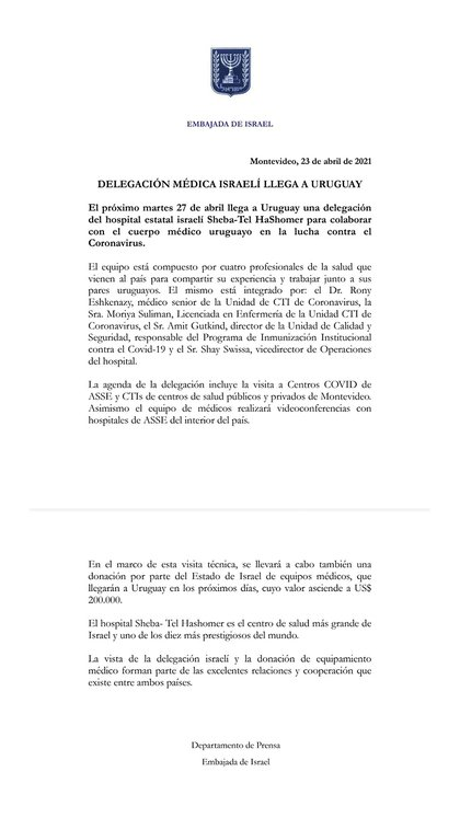 El comunicado de la Embajada de Israel en Uruguay