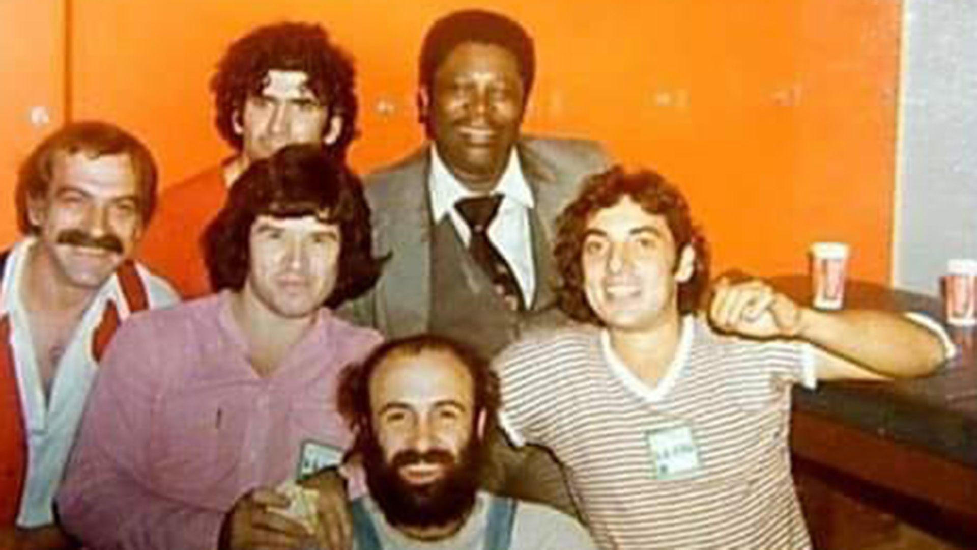 Willy Quiroga, Rinaldo Rafanelli, Héctor Starc y Pappo, junto a B.B, King en 1980
