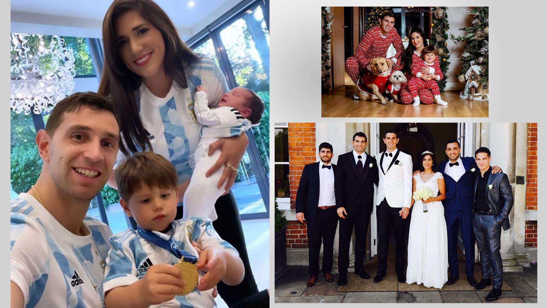 Emiliano Martínez en su casamiento y con su familia PORTADA