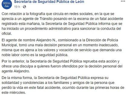 Las autoridades ofrecieron una disculpa por el comportamiento del oficial (Foto: Facebook Secretaría de Seguridad Pública de León)