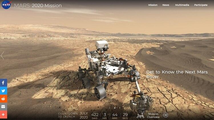 Dibujo de cómo se verá el rover Mars 2020 en el suelo marciano