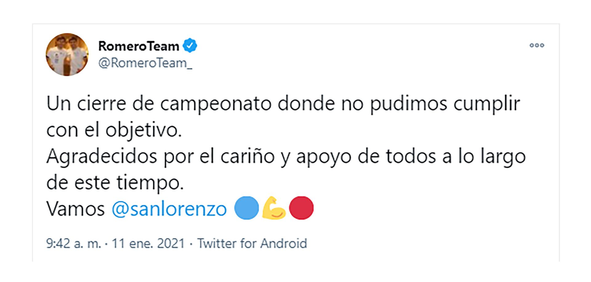Tuit de los hermanos Romero
