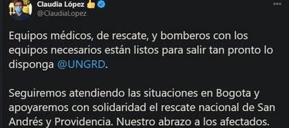 La alcaldesa de Bogotá manifiesta su solidaridad con los habitantes de las zonas afectadas por los huracanes.