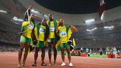 Asafa Powell, Nesta Carter, Usain Bolt y Michael Frater ganaron la medalla de oro en el 4×100 de los Juegos Olímpicos deBeijing 2008 (Getty Images)
