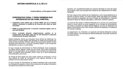 Comunicado Radiópolis (Foto: Radiopolis)