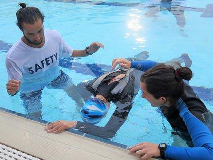 Brzozowski alcanzó la marca de 5 minutos y 29 segundos en la prueba de apnea estática (Anja Corona Bähre)
